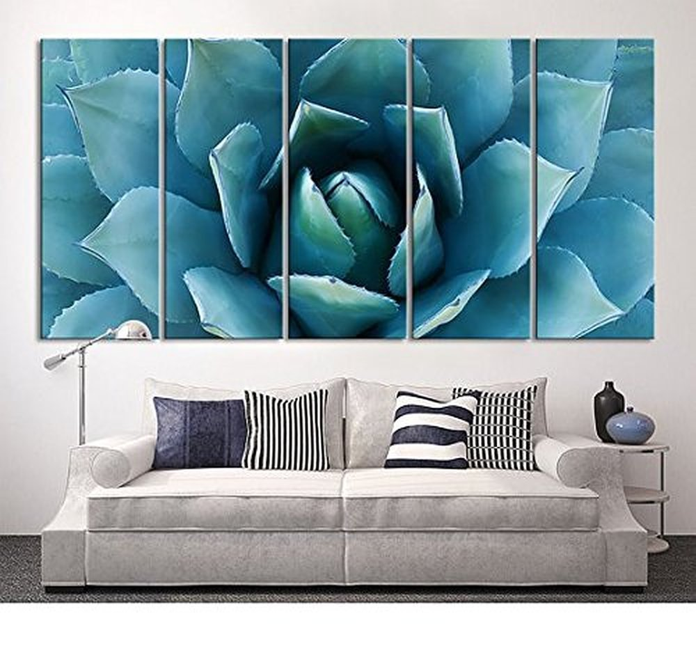 5 Piece Large Wall Art Blue Agave Canvas Prints Agave ...
