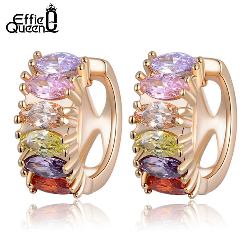 Effie Queen Fashion Rose Gold-color Earrings with Paved Multi Color Cubic Zircon Stud Earrings Present for Anniversary DDE06