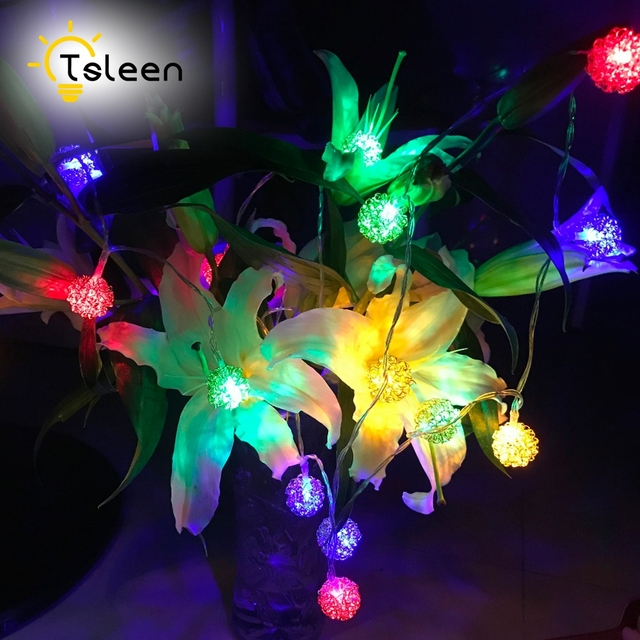 tsleen metal novelty outdoor lighting 2m led ball string lamps black wire christmas lights fairy wedding