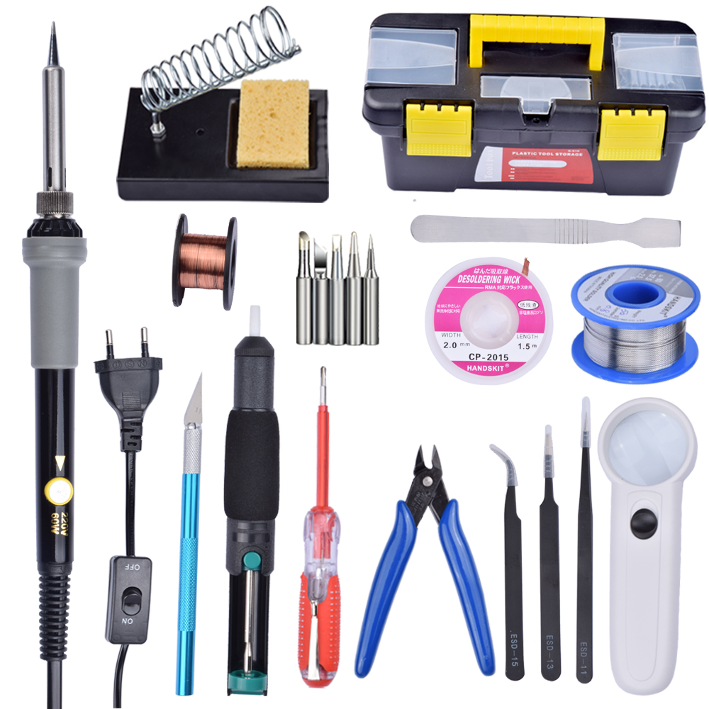 16 In 1 Solder Iron Set 60W 110V US/220V EU Plug Electric Adjustable Temperature Welding Solder Soldering Iron with Stand
