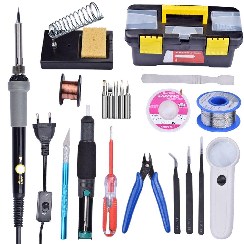 16 In 1 Solder Iron Set 60W 110V US/220V EU Plug Electric Adjustable Temperature Welding Solder Soldering Iron with Stand