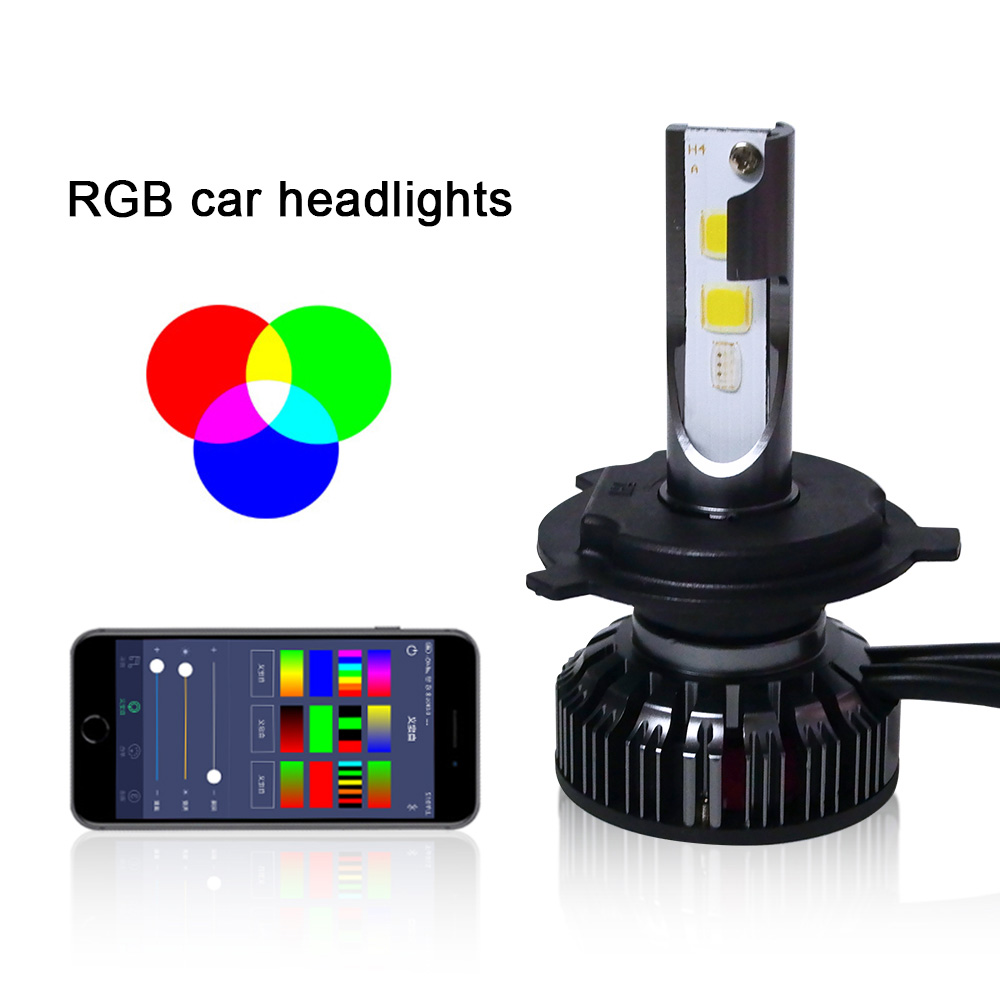 2pcs NEW Car <font><b>RGB</b></font> LED Headlight H1 H3 <font><b>H4</b></font> H7 H8 H11 9005 9006 H13 9012 5202 LED Bulbs APP Bluetooth Control Multi-color 40W 6000LM image