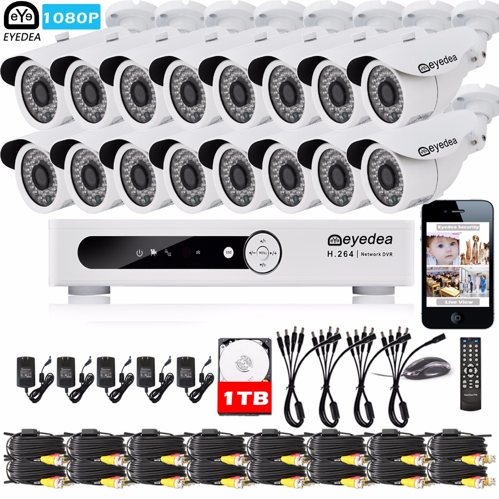 Eyedea 16 CH Email Alert DVR 1080P 5500TVL CMOS Outdoor LED Night Vision CCTV Security Camera Video Surveillance System 1TB HDD eyedea 16ch video dvr recorder hd 1080p bullet black outdoor cmos night vision business cctv security camera surveillance system