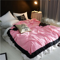 High Quality Flannel Blanket Pure Color Lace Double Double Faced Blanket Household Air Conditioning Blanket 200