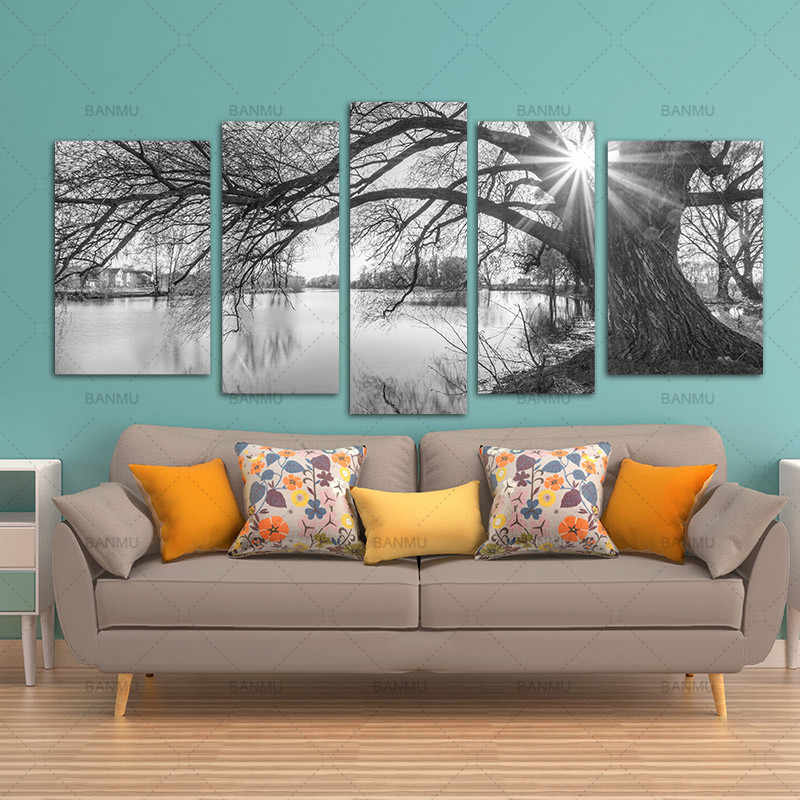 BANMU 5 Pieces Modern Canvas Painting Wall Art Tree Sunrise Time Lake Landscape Print On Canvas Giclee Artwork For Wall Decor