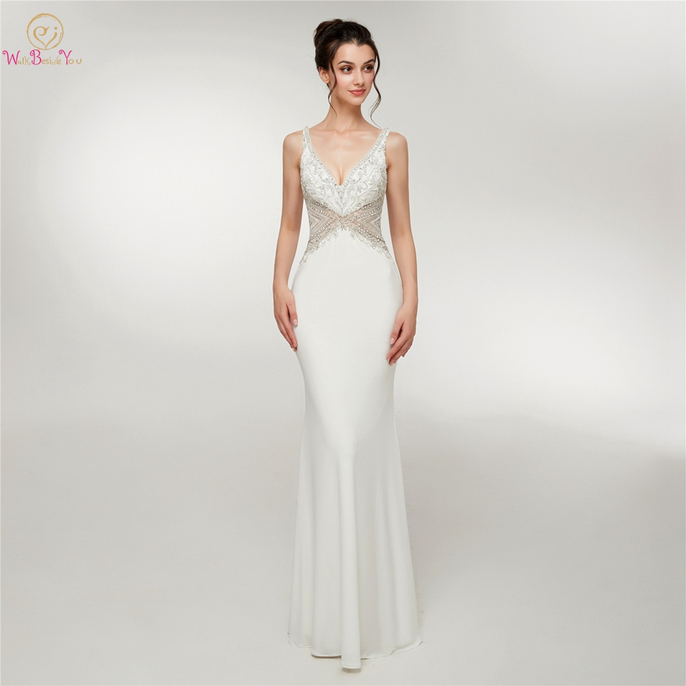 White Ladies Evening Gowns Mermaid Vestidos Formales V neck Sleeveless Long Elastic Satin Tank Prom Dresses Women Formal Party