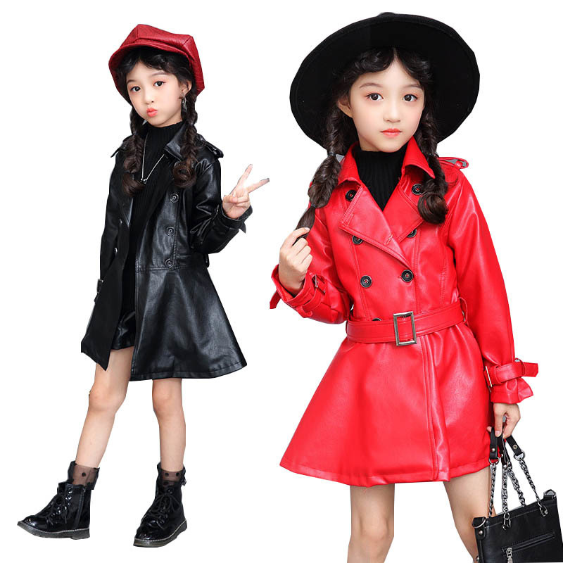 Cool Baby Girls Leather Jackets Coats Kids PU Leather Jackets Windbreaker Autumn Children Kids Punk Clothes Coats Outerwear girls clothes pu leather jacket 4 6 8 years kids coats spring autumn 2018 girls leather jackets children outwear zipper coats