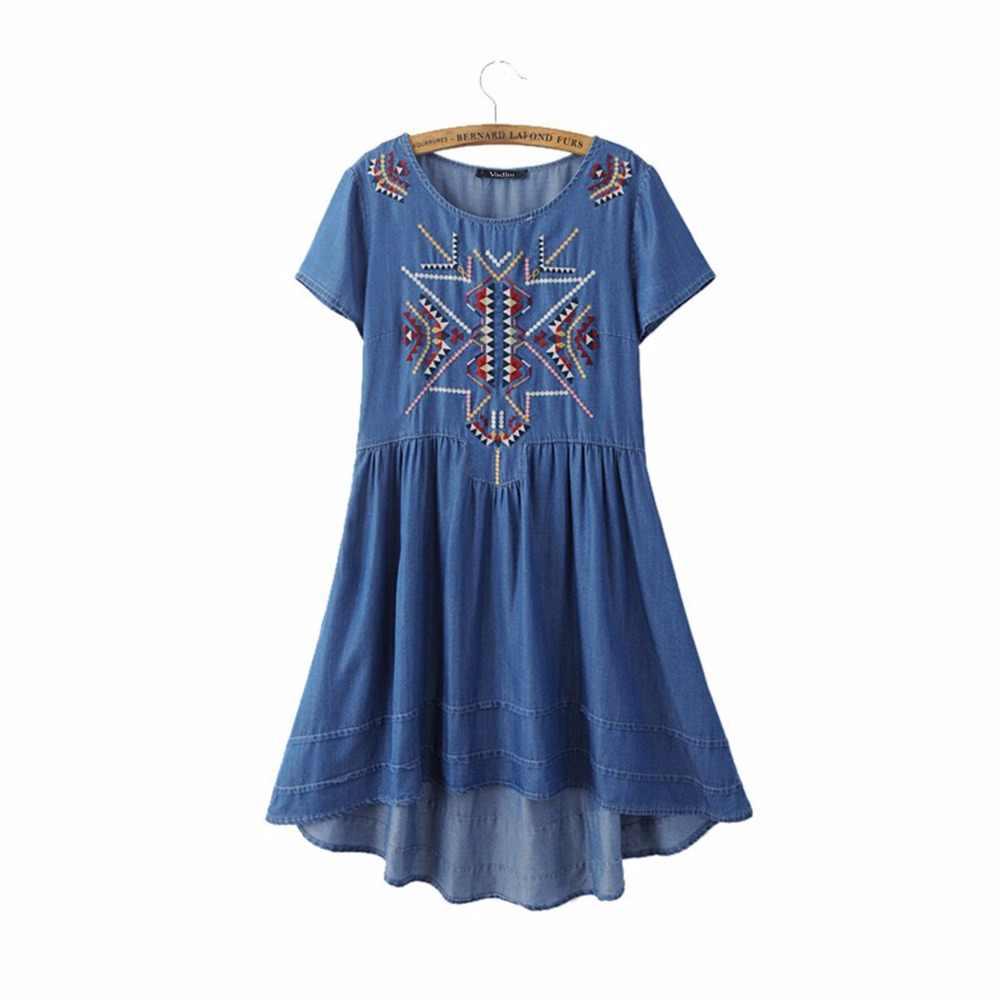 Femmes vintage géométrique broderie tencel robe style européen décontracté asymétrique denim robes vestidos QZ2498