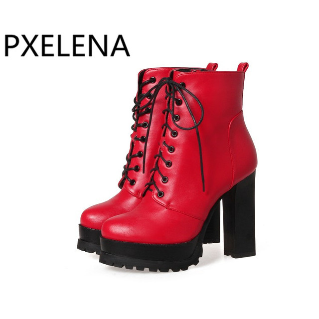 d75290ff458e0 PXELENA Rome Gothic High Heels Ankle Boots Women Shoes Round Toe Lace Up  Zip Riding Short Boots Women 34-43 Plus Size Red Black