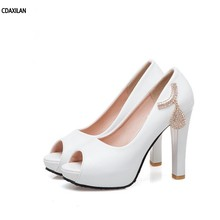 CDAXILAN new arrivals sandals women ladies girls summer party shoes super high heels spike heel platform peep toe wedding shoes цены онлайн
