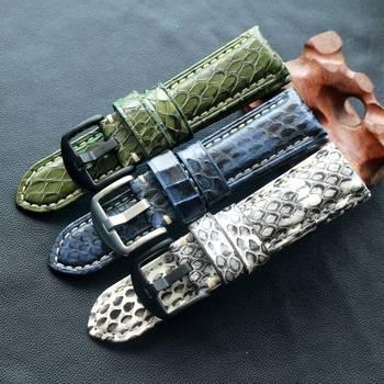 Ремешок для часов TOTOY, из змеиной кожи, ручной работы, 20 мм, 22 мм, 24 мм, черный и белый, зеленый, синий