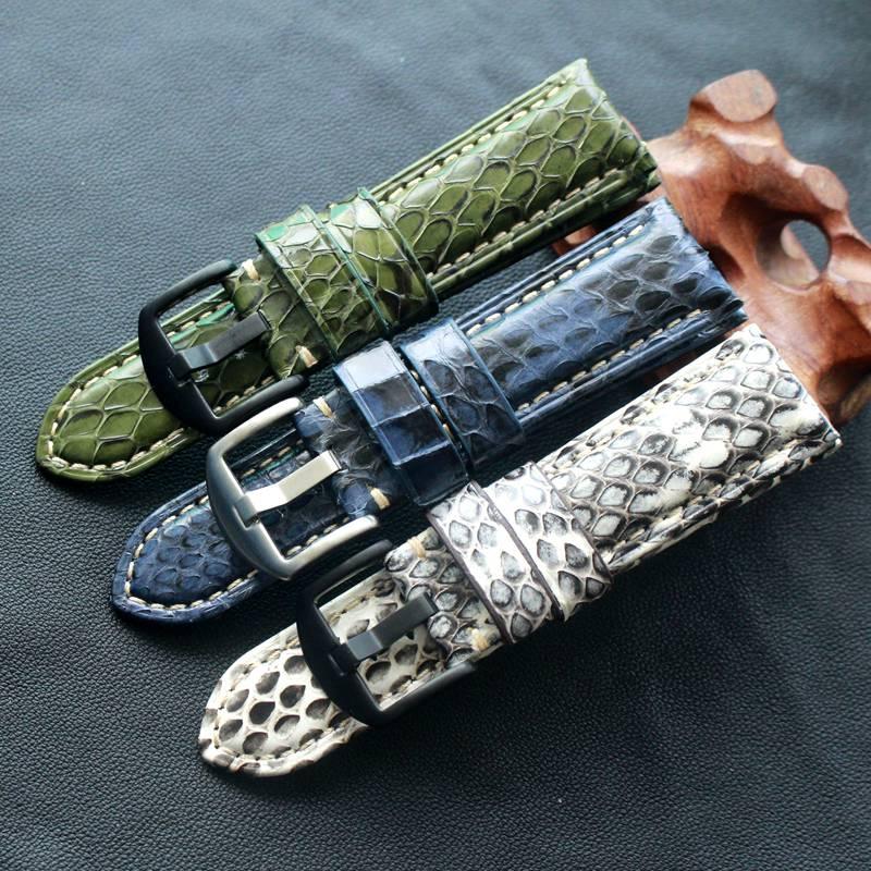 Saatler'ten Saat kayışları'de TOTOY El Yapımı yılan derisi kayışı 20MM 22MM 24MM siyah ve beyaz yeşil mavi deri kayış erkek yılan derisi saat kayışı title=