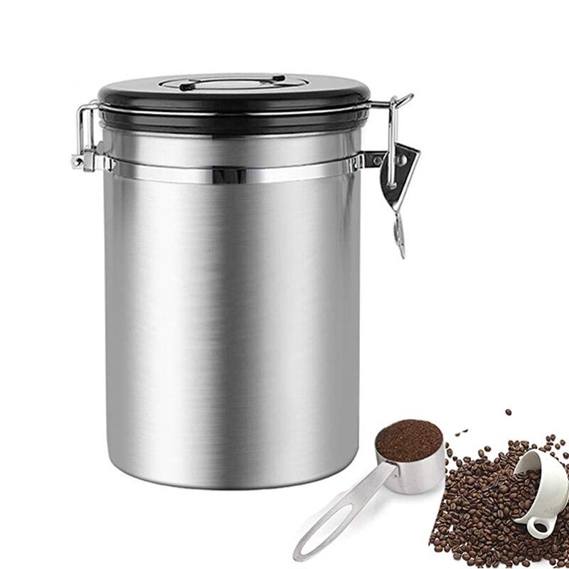 Recipiente de Armazenamento De café de Café de Aço Inoxidável Hermético Vasilha Válvula para Manter O Cofre do Feijão de Café do Recipiente com CO2 Feijão Fresco