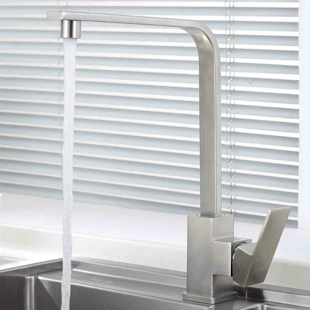 Solid stainless steel Kitchen bar sink mixer faucet Square brushed nickel Rotate 360 degrees hot and