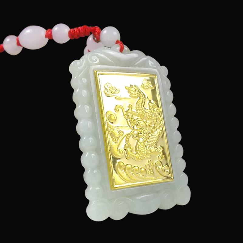 TJP 2018 Gold Jade Square Style Dragon կախազարդ Լավ - Նուրբ զարդեր - Լուսանկար 2