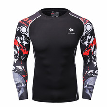 Men Compression Shirts MMA Rashguard Keep Fit Fitness Long Sleeves Base Layer Skin Tight Weight Lifting