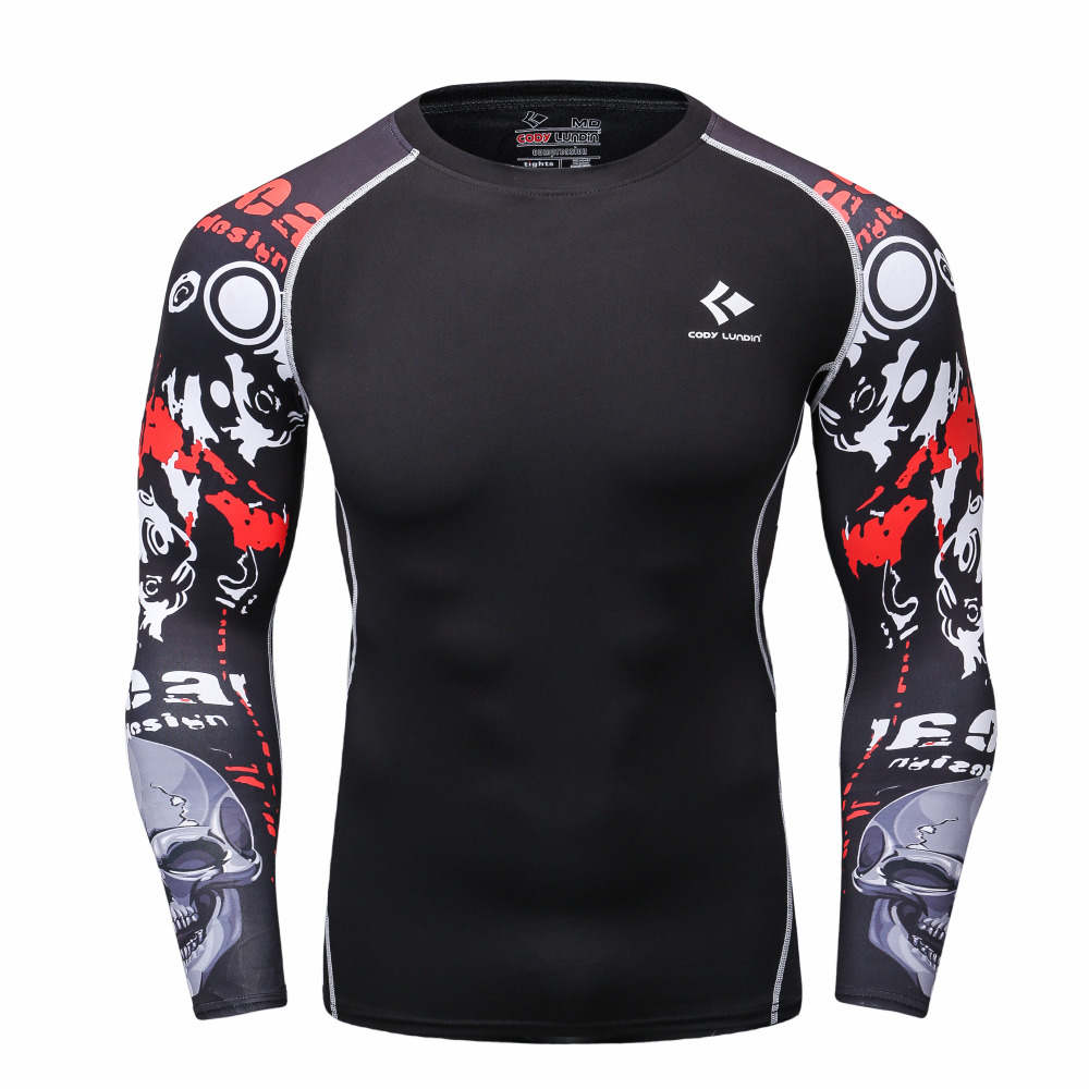 Men Compression Shirts MMA Rashguard Keep Fit Fitness Long Sleeves Base Layer Skin Tight font b