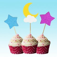 festival supplies cake toppers gliter star/moon paper cards banner for fruit Cupcake Wrapper Baking Cup birthday party wedding(China)