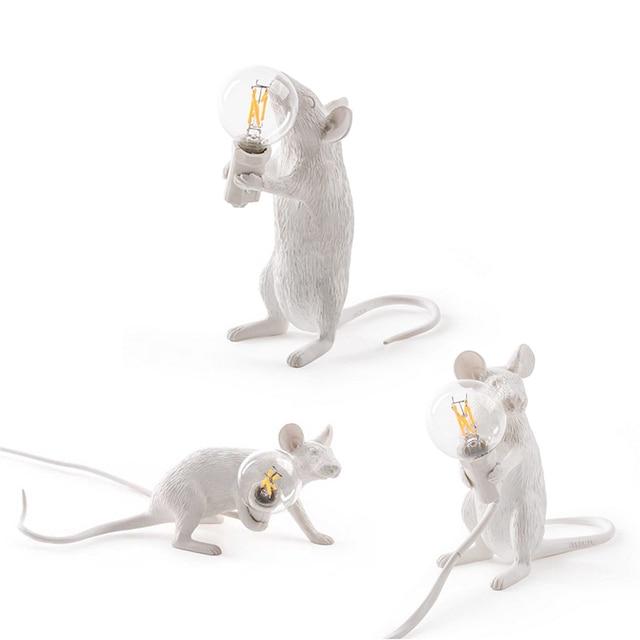 3 Style White Resin Mouse Table Light Modern Art Mouse Table Lamp Small Mini Mouse Light For Bedroom Bedside Desk Light(TL-50)