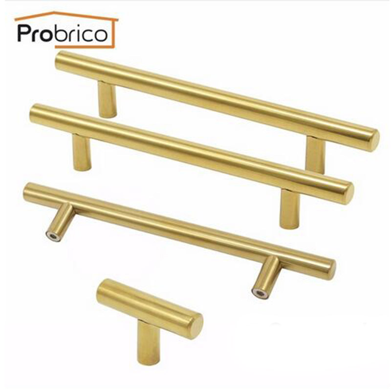 Probrico Gold Cabinet Handle Stainless Steel 12mm Hole Center 64 mm~256mm Kitchen T Bar Door Knob Furniture Drawer Cupboard Pull furniture drawer handles wardrobe door handle and knobs cabinet kitchen hardware pull gold silver long hole spacing c c 96 224mm