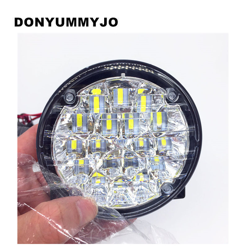 DONYUMMYJO New 2X 12V 18 LED Car head Front Round Fog Tail light Off-road Lamps parking Lamp Daytime Running Lights 2pcs super bright white 9 led head front round fog light for all car drl off road lamp daytime running lights parking lamp
