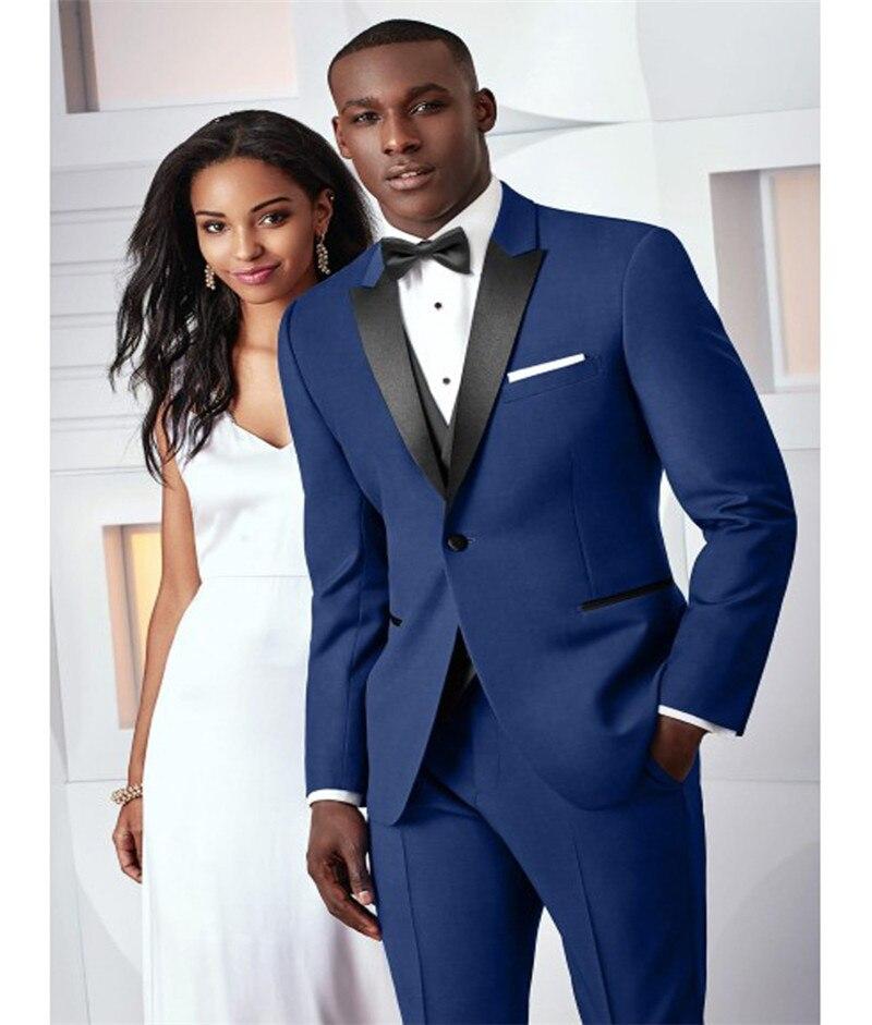 f74bdc67bff Nueva moda boda azul oscuro trajes de 2 piezas trajes para hombre Slim Fit  (chaqueta + Pantalones + corbata) esmoquin de novio trajes de negocios