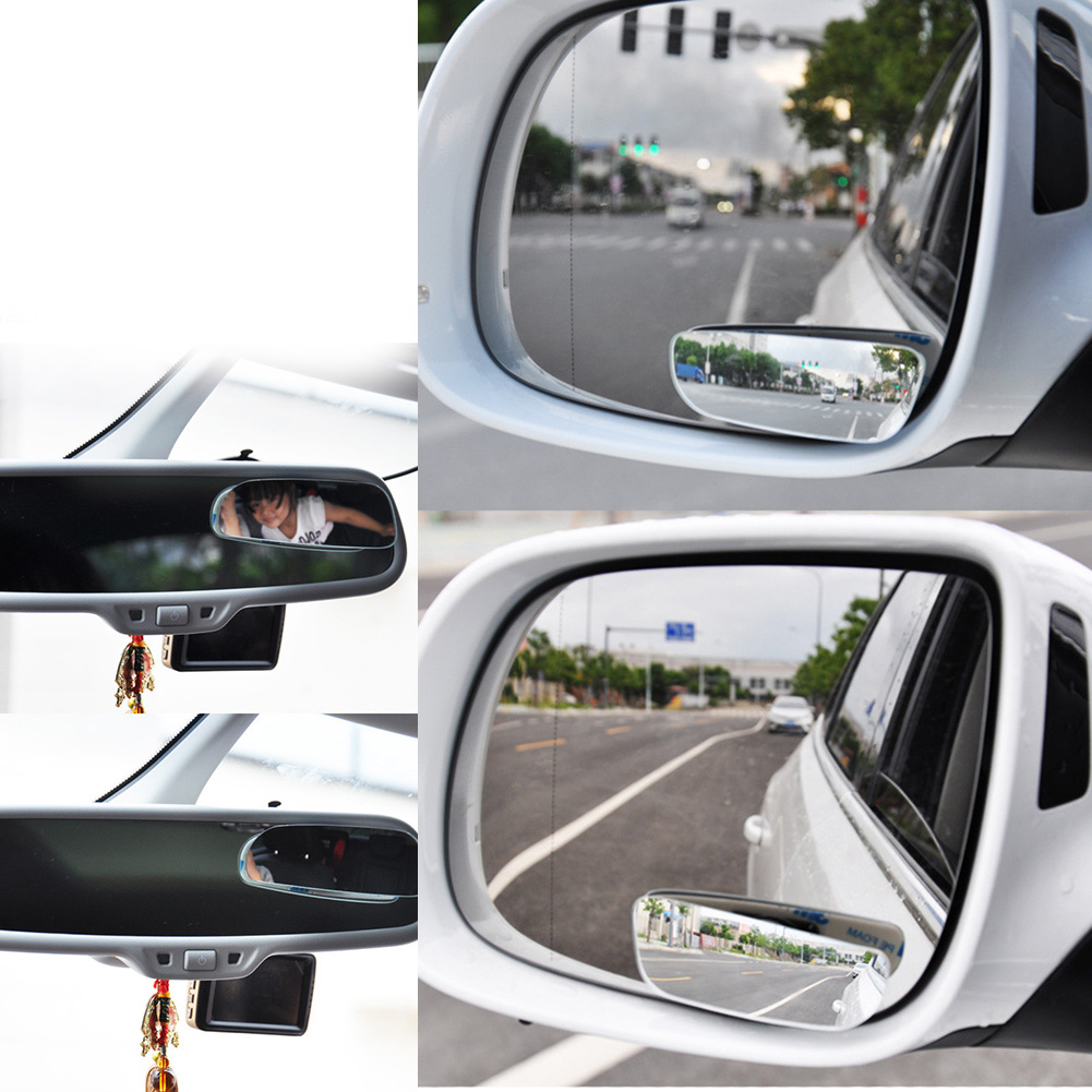 2Pcs Universal Auto Side 360 Wide Angle Convex Mirror Car Vehicle Blind Spot Rearview RearView Mirror Small Mirror Car Styling car reversing auxiliary mirror car blind spot reversing rearview mirror support angle adjustment