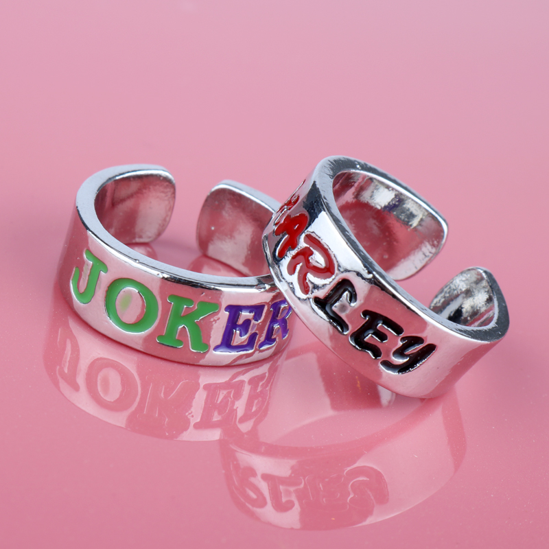 Stainless Steel Ring for Women Suicide Squad Joker Harley Quinn Couple Lover Rings Wedding Pair Ring