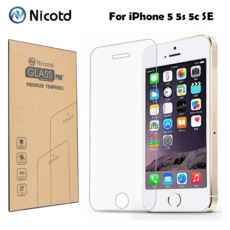 9H 0.3mm 2.5D Coated Clear Tempered Glass For iPhone 5 5s 5c SE Phone Explosion Proof Toughened Protective Screen Protector Film