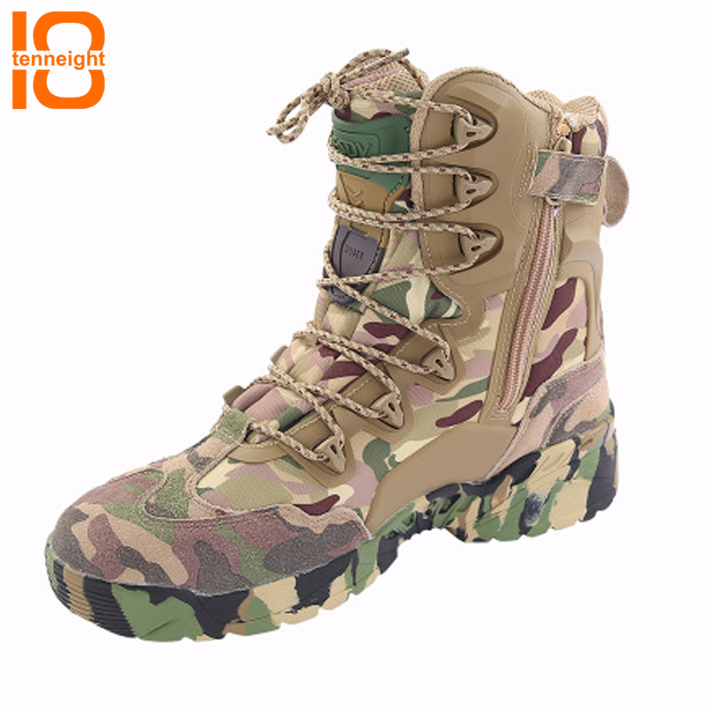 TENNEIGHT Outdoor Desert Hunting Tactical Boots men Military Boots Camouflage sports climbing Shoes Travel walk Shoes цена