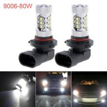 2pcs 9006 HB4 Car Auto LED Lamp Light 80W 3030 16SMD White High Power Fog Driving Bulbs for Cars Vehicles
