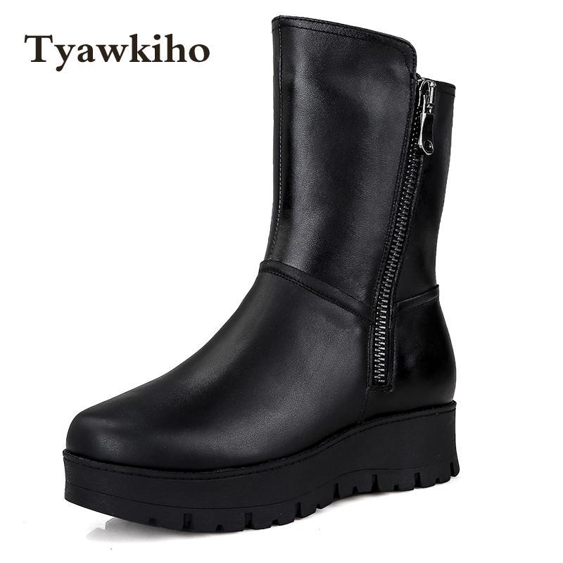 Tyawkiho Plus Size Winter Women Snow Boots Fur Insole Warm Plush Shoes Genuine Leather Mid Calf Boot Black 4 CM Wege Heels Boots