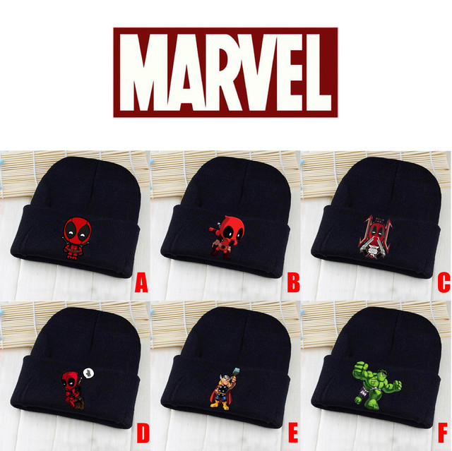 Marvel Avengers Deadpool Hulk Thor Black Skullies Beanie Knitted Cotton Hat  Cap Cosplay Costume Unisex Fashion Gifts Cool 8d2352503fd