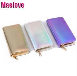 Maelove кошелек с голограммой женщин лазерная серебро сумка, миниатюрные кошельки кошелек небольшие голограммы ручная сумка визитница
