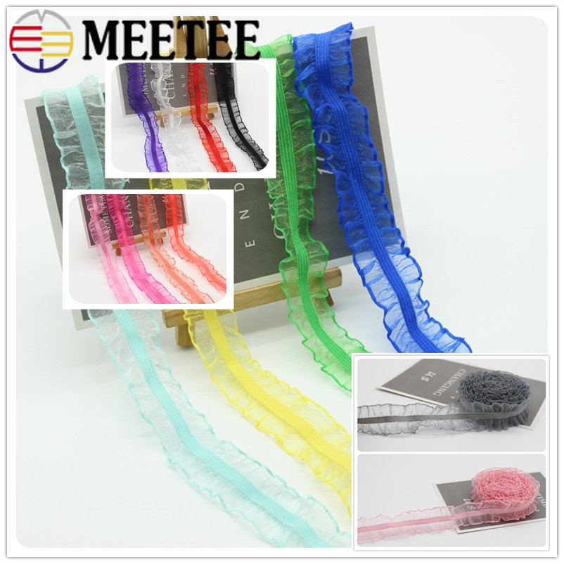 20Meters <font><b>25mm</b></font> Transparent Organza Lace Trims Pleated <font><b>Elastic</b></font> Band For Baby Hair Wristband Shoulder Strap Stretching Ribbons image