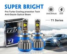 T1 Turbo Farol Do Carro H4 H7 H11 Lâmpadas LED Farol Alto Baixo 70 W 7000LM 6000 K Auto Canbus Bi Feixe de luz Baixa Com Ventiladores Turbo