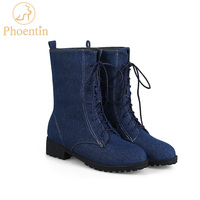 Phoentin ladies lace up denim mid calf boots med flat with heel blue short women's winter boots jeans adhesive women shoes FT155