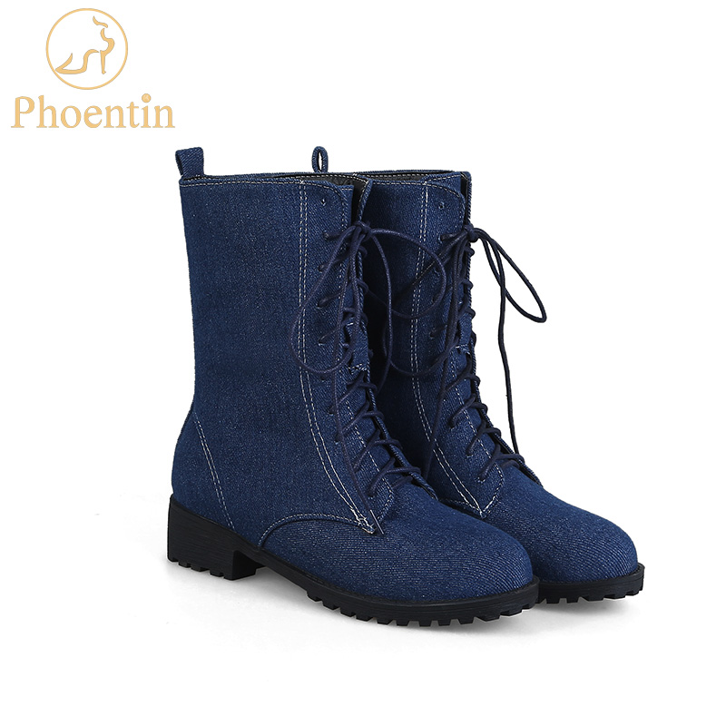 Phoentin ladies lace-up denim mid-calf boots med flat with heel blue short women's winter boots jeans adhesive women shoes FT155 laconic women s mid calf boots with lace up and chunky heel design