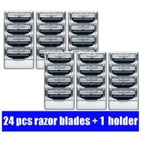 JIEFUXIN 24pcs Razor Blades 1pcs Razor Holder Face Care Manual Shaving Razor Blade Safe Blades Shaving