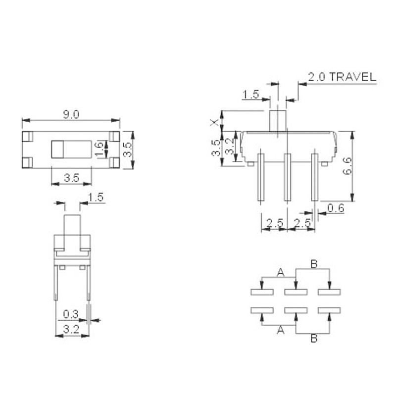 50 шт. MSS-22D18G2 2P2T DIP 6-Булавки вертикальный сдвиньте переключатель с 2 мм ручка W312