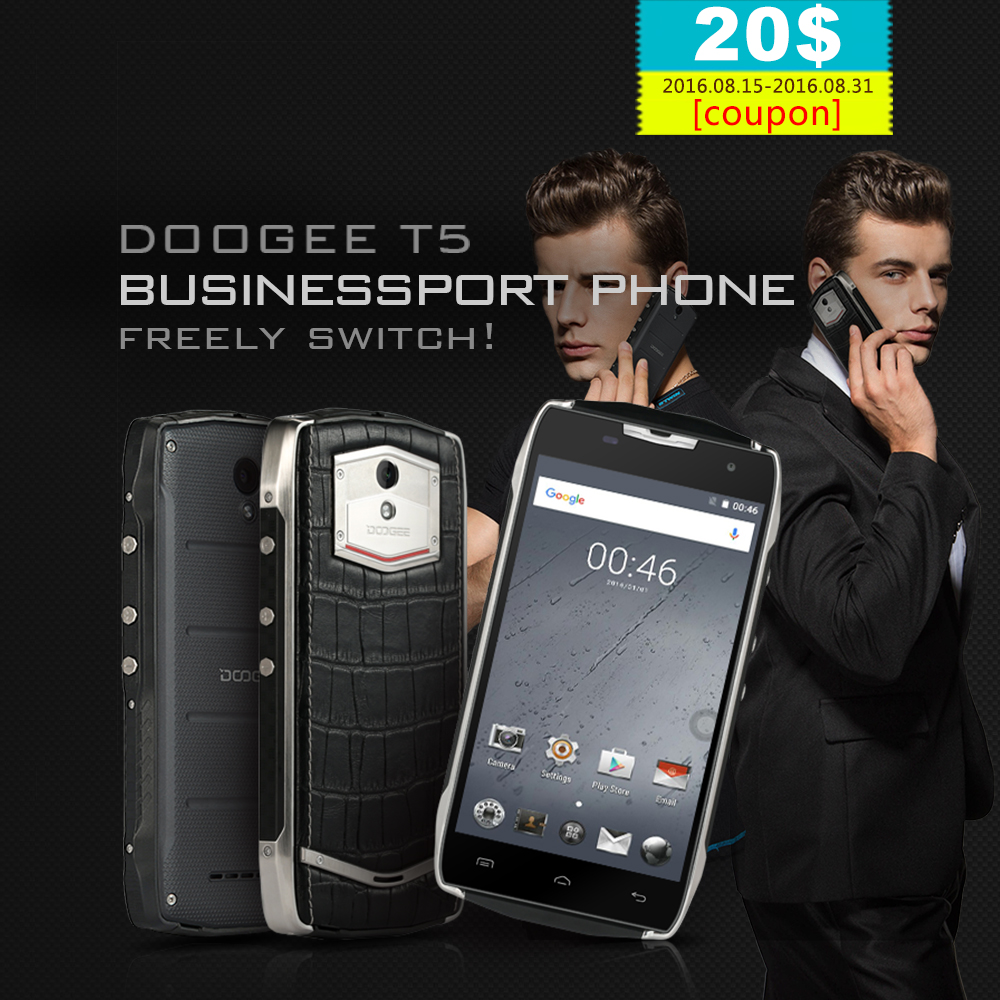 Original DOOGEE T5 4G LTE Cellphone Android 6 0 IP67 MTK6753 Octa Core Mobile Phone Dual