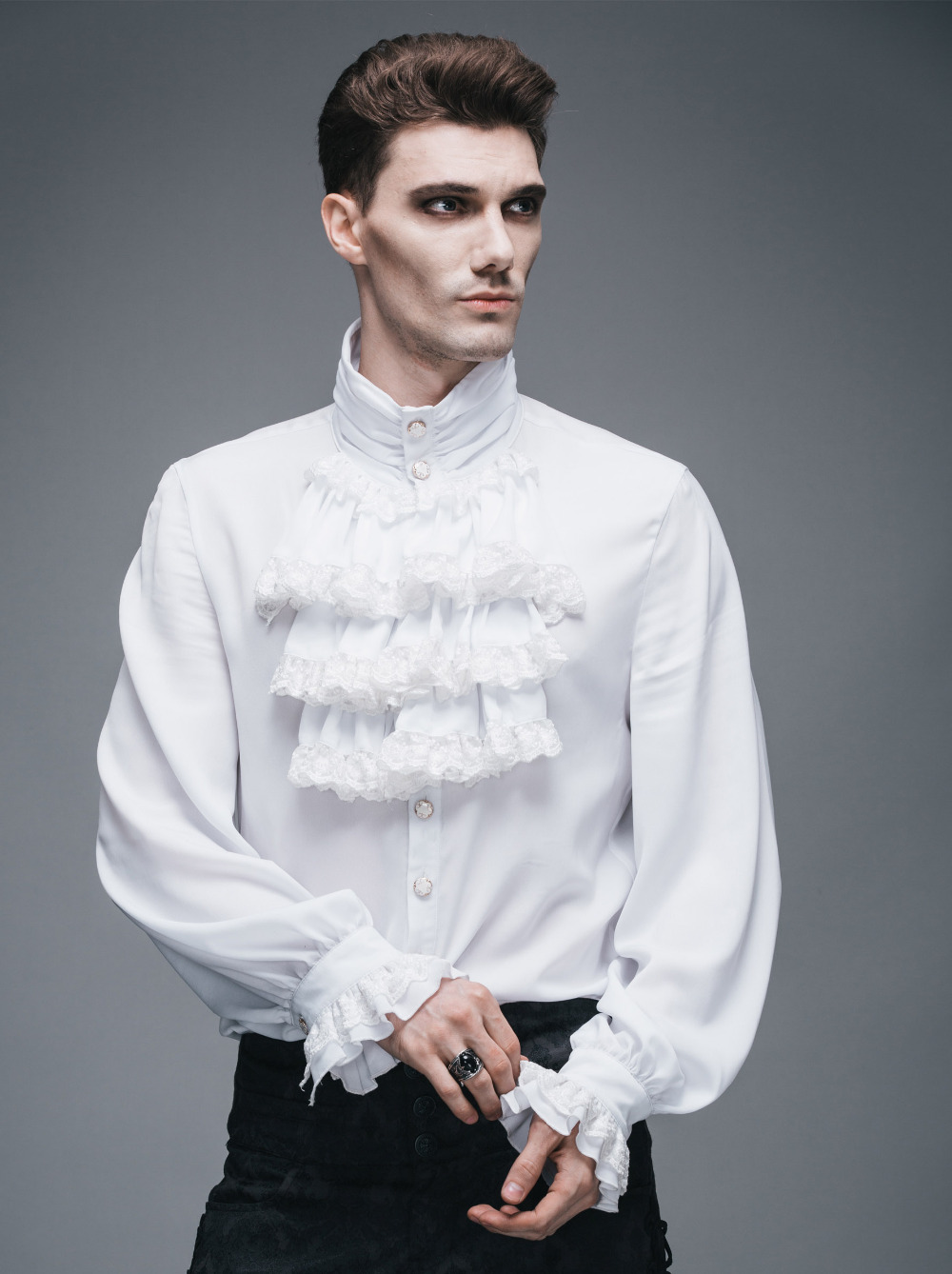 Image 5 - Fashion Punk New Gothic Party Steampunk Black Top Evening Shirt  Retro Palace Personality Pure White Men Casual Shirt Blousemen casual  shirtcasual shirtfashion casual shirts