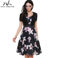 Nice Forever Retro Elegant Flower Print Zipper Sweat Heart Neck Ball Gown Women Short Sleeve Celebrity