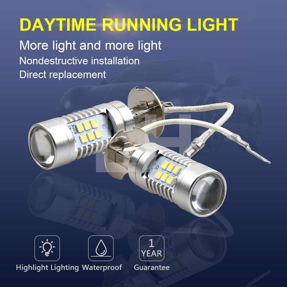 2PCS LED Bulbs High Power 21-SMD LED Daytime Running H3 Fog Light 12V 24V White 6000K