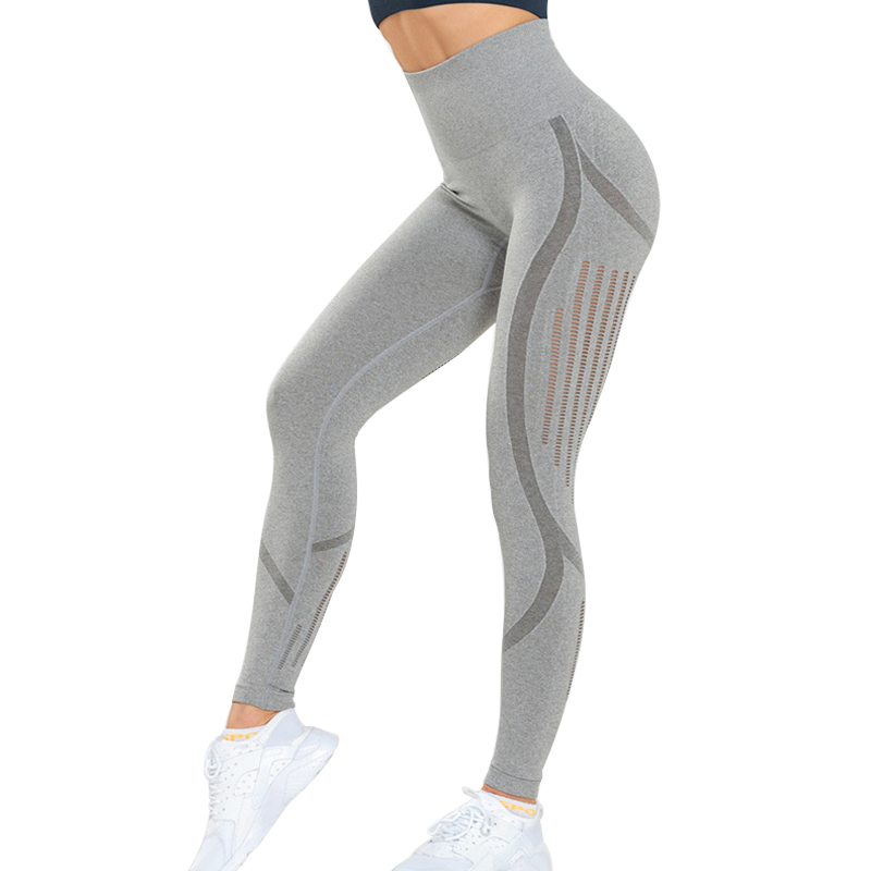 NORMOV Seamless Women Leggings Fitness High Waist Push Up Hollow Out Spandex Jeggings Casual Solid Leggings