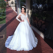 OKOUFEN Plus Size Women Wedding Dress 2019 Long Sleeves