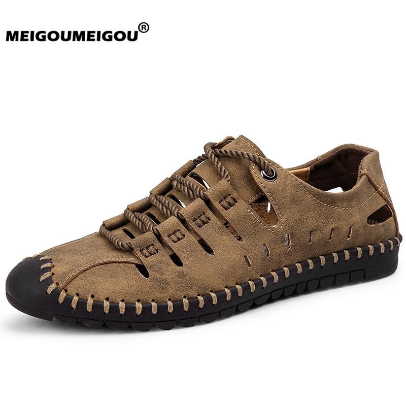 2019 Neue Sommer Schuhe Männer Echtes Leder Sandalen Business Casual Schuhe Männer Im Freien Strand Sandalen Männer Sommer Wasser Schuhe Größe 48 Starke Verpackung