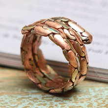 R006 Best Offer Indian Three Rose Coppers Wrapped Silk Rings Vintage for Man(China)