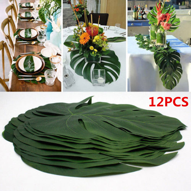 12pcs Tropical Palm Leaves Wedding Decoration Green Jungle Plant Artificial Leaf Island Style Simulation Plant Table Home Decor