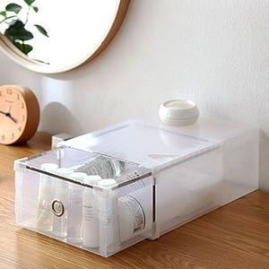 Image 4 - 5PCS Transparent shoe box dustproof storage box can be superimposed combination shoe cabinet Clamshell men and women shoe box